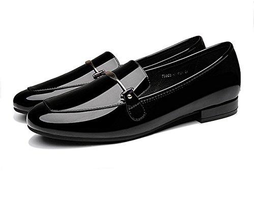 Damen Lackleder Geschlossen Pump Einfarbig Rund Zehen Anti-Rutsch Blockabsatz Low-Top Freizeit Schuhe Schwarz