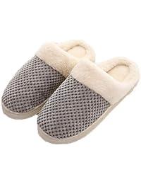 POINGS Hausschuhe Damen Herren Fleece Gefütterte Rutschfeste Winter  Innenbereich Pantoffeln Indoor Schuhe Warme Plüsch Slippers 3e5fb4f912