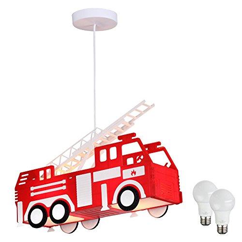 feuerwehrlampe Feuerwehr Pendel Leuchte Decken Beleuchtung Hänge Lampe im Set inklusive LED Leuchtmittel