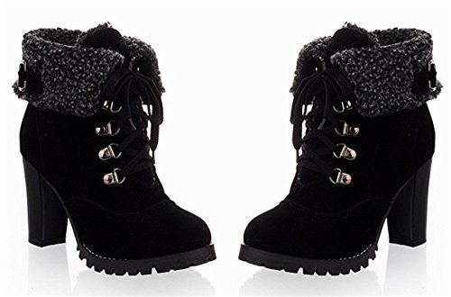 Minetom Mode Femme Automne Hiver Talon Haut Courtes Bottes Vintage Confortable Plateforme Chaussures Boots Noir