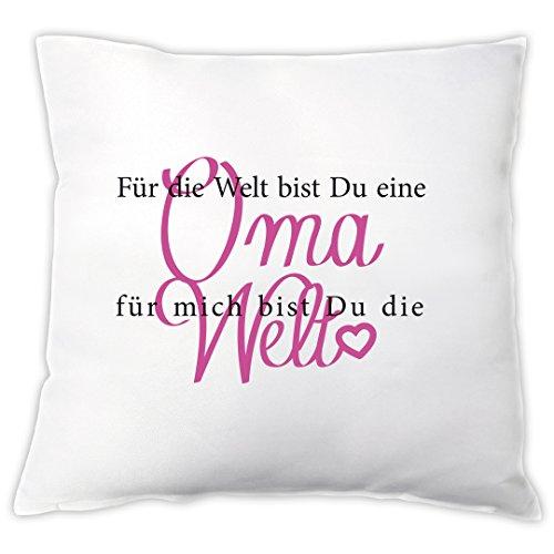 """Kissen \""""Für mich bist du die Welt\"""" - Oma - Zierkissen, Dekokissen, Geschenkidee, Geburtstagsgeschenk, Weihnachtsgeschenk, Geschenk zum Geburtstag, zu Weihnachten, für die Oma"""