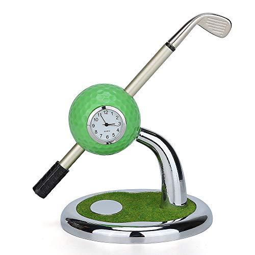 World 9.99 Mall Golf Geschenk,Mini Desktop Golf Uhr Kugelschreiber Stand mit Golf Stifte 2pcs Satz Golf Souvenir Tour Souvenir Neuheit Geschenk,Schreibtisch Deko Stiftehalter mit -