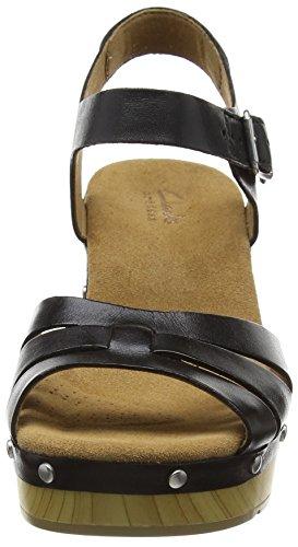 Clarks Ledella Trail, sandales compensé  Femme Noir (Black Leather)