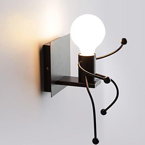 creativo vintage lampada da parete applique da parete lampada a muro industriale retro nero ferro art cartone animato design e27 per bar bambini camera da letto cucina ristorante caffè corridoio loft