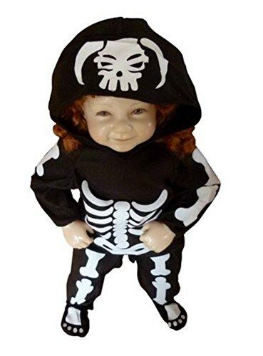 F70 Größe 86-92 Skelett Kostüm für Halloween und Fasching (Halloween-kostüme Und Für Kleinkinder Babys)