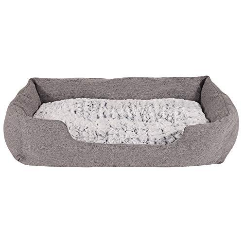Hundebett Hundekissen Hundekörbchen mit Wendekissen meliert Größe L 110x80 cm Farbe grau