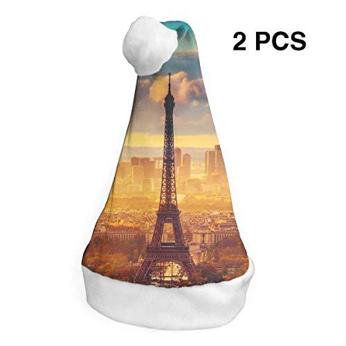 Kostüm Stück Kind Pizza - Weihnachtsmannmütze mit Eiffelturm, Sonnenaufgang, Frohe Weihnachten, für Erwachsene, Kinder, Kostüm, Weihnachtsdekoration, Partyzubehör (2 Stück)