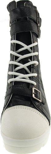Maxstar Wh 3 ceinture en cuir synthétique Talon compensé de bottines Noir - noir