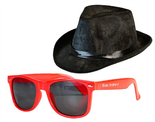 Blues Brother Kostüm Set Brille + Hut: Farbe: Rot-Dunkel