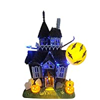 azurely Halloween Spooky Haunted House Castle ornaments, Halloween House Decoration with Flashing Lights Sound Motion Sensor Toy