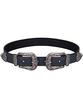 KRISP Cinturón Negro Doble Hebilla Plateadas Cowboy Oeste Western Vintage