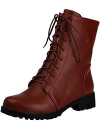 JYshoes Schnürstiefeletten Blockabsatz Stiefeletten mit Schnürung und 3cm  Absatz Damen Winterstiefel Geschnürt ... fb92e15cc2