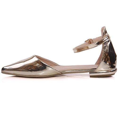 Unze Für Frauen Alanora 'Shiny Zipfel flache Pumps - BH222-X8A Gold