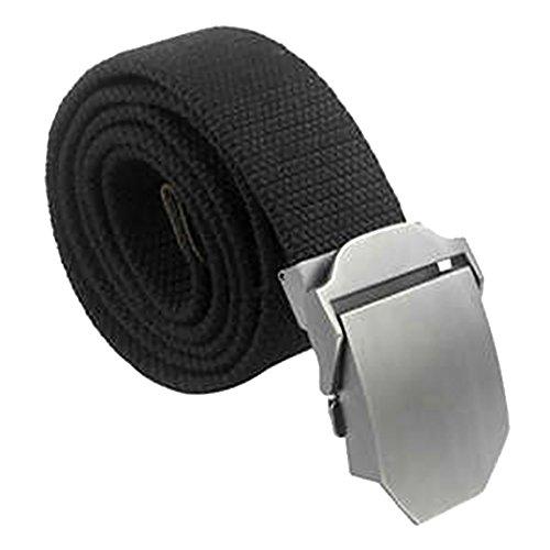 Tailcas® Ocio Espesar Lienzo Cinturón Hebilla de Metal Square Deslizante Hebilla Woven...