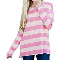 Luckycat Camisas Bloque de Color Blusas Tops del Camisetas Manga Larga Camiseta Casual para Mujer