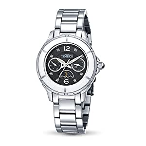 Time100 Ladies Ceramic-frame Moon Phase Multifunctional Black Dial Watch #W80028M.02A