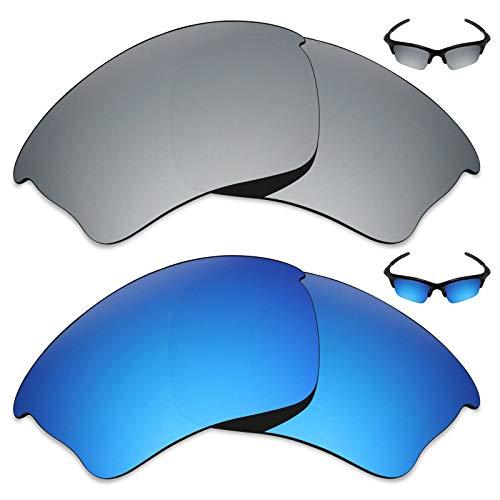 MRY 2Paar Polarisierte Ersatz Gläser für Oakley Half Jacket Xlj Sonnenbrille-Reiche Option Farben, Ice Blue & Silver Titanium