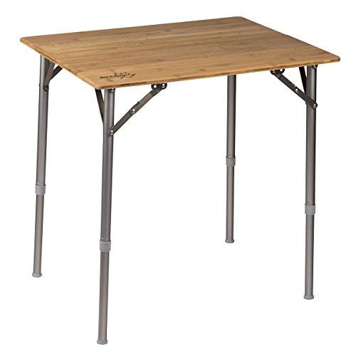 Aluminium Campingtisch mit Tischplatte aus Bambuslamellen. Mehrzwecktisch für Indoor und Outdoor, Hitzebeständig und Wasserfest mit verstellbaren Tischbeinen. Klapptisch mit Tragetasche, Kompakt