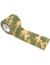 Befaith Cinta de camuflaje al aire libre no tejida autoadhesiva para la cinta del ciclo de la caza del rifle del abrigo (color al azar)