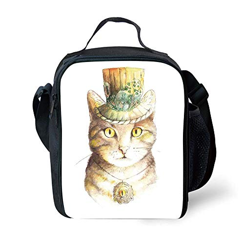 MLNHY School Supplies Cat Lover Decor,Spiritual Cat with Hat and Occult Eye Collar Grunge Celtic Trick Theme,Yellow Grey for Girls or Boys Washable (Boy Collar Cat)