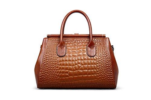 Elegir Un Mejor Buscando Hermiona Women Genuine Leather Crocodile Grain Shoulder Bag Top-handle Tote Bag Red brown OKZ2XcTGQk