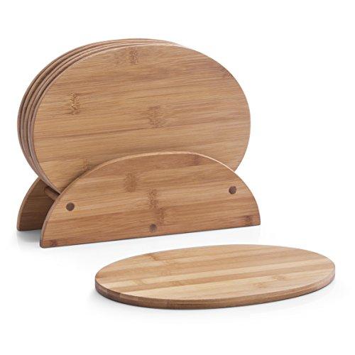 Zeller 25266 - Juego de tablas de cortar con soporte, madera de bambú (7 tablas ovaladas, 24 x 7 x 18 cm)