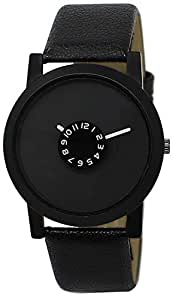 New Raiyaraj Embroidery Analogue Black Dial Leather Belt Men's Watch