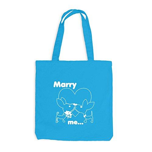 Jutebeutel - Marry Me Herz Doggy Wedding - Kuss Kiss Sweetness Surfblau