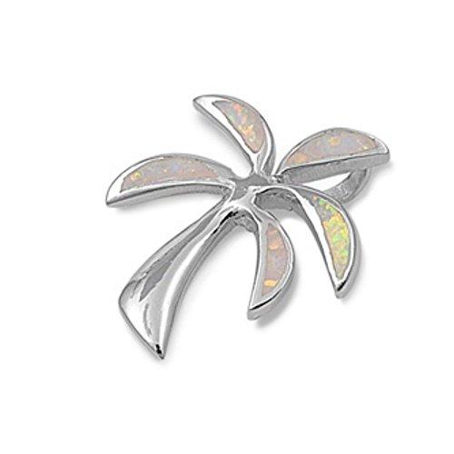 925 colgante de plata esterlina de la palmera con la gema de ópalo Lab