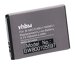 vhbw Li-Ion Akku 700mAh (3.7V) für Handy Smartphone Telefon Alcatel One Touch 300, 305, 305A, 321, 355, 355A, 355D, 380 wie B-U8C, OT-BY10, OT-BY20.