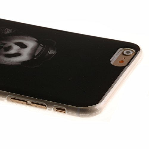 Pour Apple iPhone 5 5S 5SE Coque,Ecoway Housse étui en TPU Silicone Shell Housse Coque étui Case Cover Cuir Etui Housse de Protection Coque Étui Apple iPhone 5 5S 5SE –Black smiley panda