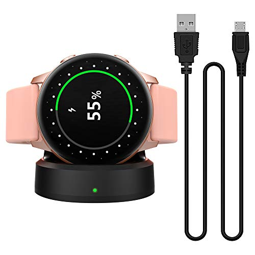 MoKo Charger Dock Fit Samsung Galaxy Watch Active, Portable Magnetic Replacement Charging Stand Adapter Station Cradle Holder with USB Charging Cable Cord - Black