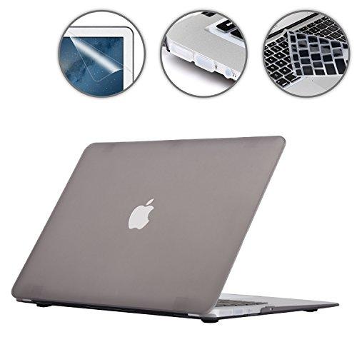 """i-Buy Matte Gummierte Harte Schutzhülle Hülle für Apple Macbook Air 13\"""" (13,3 Zoll) + Schutzfolie + Silikon Tastaturschutz + Anti-Staub-Stecker - Grau"""