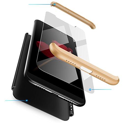 RINOJF Compatible Funda Xiaomi Mi Mix 2s Carcasa[2 Vidrio Templado] 360 Grados protección Caja Ultra Delgado Duro PC 3 en 1 Anti-Golpes Anti-Arañazos Case Cover para Xiaomi Mi Mix 2s-Negro Oro