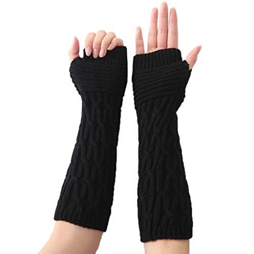 HUOYAN Frauen-Winter-Handgelenk-Arm-Wärmer Fest Strick Lange Fingerlose Handschuhe Fäustling Handwärmer Gestrickte Lange Halbhandschuhe Fäustling (Color : Black) -