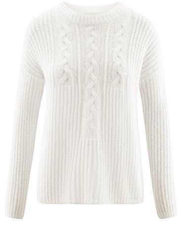 oodji Ultra Damen Lässiger Pullover mit Zopfmuster vorne Weiß (1200N)