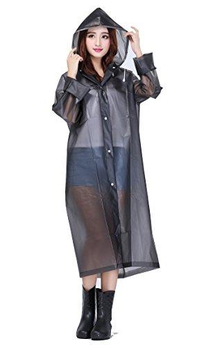 Evelure Unisexe Poncho Pluie à Capuche Imperméable Translucide Cape de Pluie Raincoat Pour Voyage Camping Randonnée Vacance En EVA Blanc Taille Gris