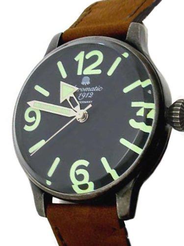 Aeromatic 1912 A1251 - Reloj para hombres, correa de cuero color marrón