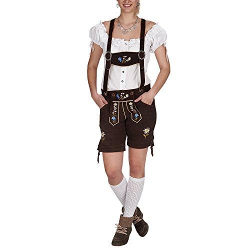 Lederhosen Kostüm Girl (Trachten Lederhose Damen kurz Echtleder braun mit Stickerei zum Oktoberfest -)