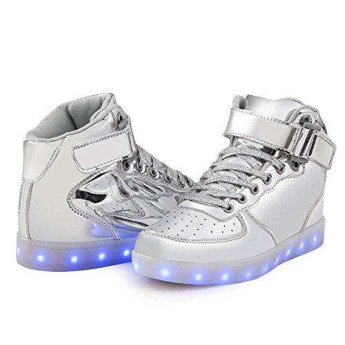 SGoodshoes Unisex Garçons Fille de USB Recharge Luminous LED Chaussures de sport Baskets Chaussures lumineux Sneaker Argent