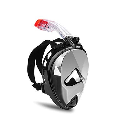 SETLOVE Neueste Galvanotechnik Vollgesichts-Schnorchelmaske für Erwachsene, Vakuumbeschichtung Silikon-Tauchmaske Volltrockener Sonnenschutz Winddichter UV-Schutz,silverplated,S/M