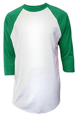 Soffe Herren Baseball T-Shirt 3/4 Arm MJ, Herren, M209, Weiß/Grün, Medium -