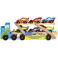 Melissa & Doug Mega Race-Car Carrier - Wooden Tractor and Trailer With 6 Unique Race Cars