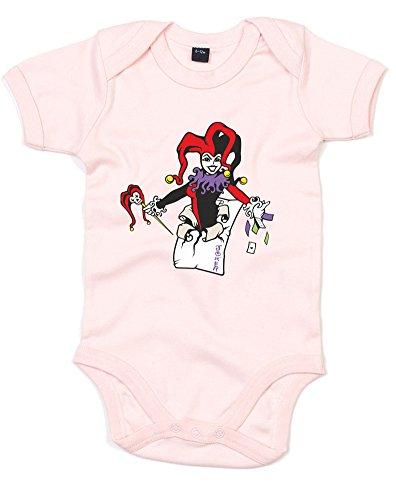(Harley Quinn, Gedruckt Baby Strampler - Powder Pink/Transfer 6-12 Months)