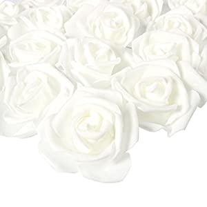 Juvale – Juego de 100 rosas artificiales, perfectas para decoración de bodas, baby showers, manualidades, 3 x 1.25 x 3 pulgadas