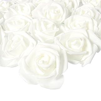 Juvale Rose Flores Cabezales – 100 unidades rosas artificiales, perfecto para decoración de bodas, baby showers, manualidades – Blanco, 3 x 1,25 x 3 pulgadas