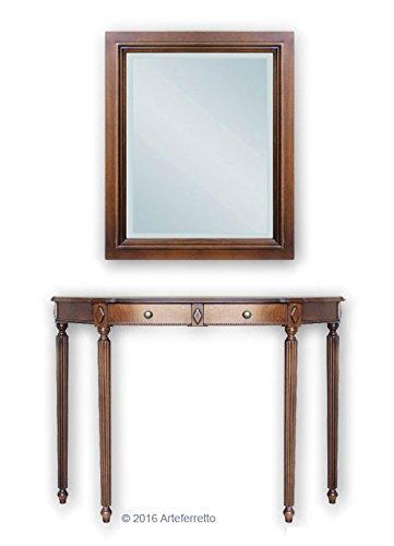 Artigiani Veneti Riuniti Konsolentisch mit Spiegel im klassischen Stil für Flur/Wohnzimmer, Konsolentisch Halbmond und rechteckiger Spiegel aus Holz, Möbelstücke aus Italien