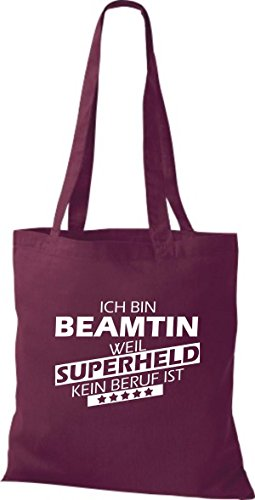 Shirtstown Sac en tissu Ich bin La fonction publique, parce que Superheld aucun Occupation est Rouge Bordeaux