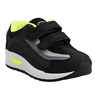 A&H Footwear Kids Boys Infants Touch Fastening Running Sport PE SneakersTrainers Shoes Sizes UK 8-2 (UK 12, White/Black/Lime)