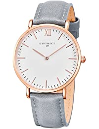 799cb530702 District London Rose Edition - Ultra Slim Rose Gold Women s Leather Grey  Band Quartz Wrist Watch